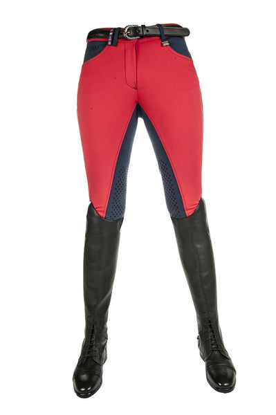 HKM Pro Team International Silicone Knee Patch Breeches in Red