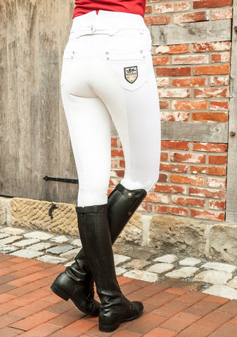HKM Pro Team Mrs Blink Full Seat Breeches worn by Rider