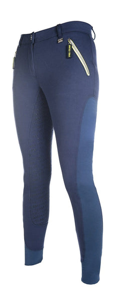HKM Pro Team Neon Sports Contrast Silicone Full Seat Breeches - 24 (6) / Navy | EQUUS