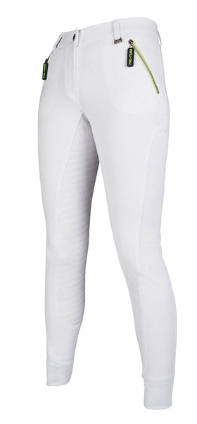 HKM Pro Team Neon Sports Contrast Silicone Full Seat Breeches - 24 (6) / White | EQUUS
