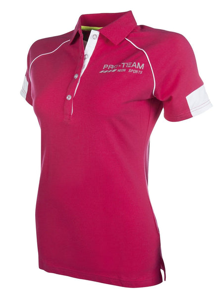 HKM Pro Team Neon Sports Polo Shirt - XS (8) / Pink | EQUUS
