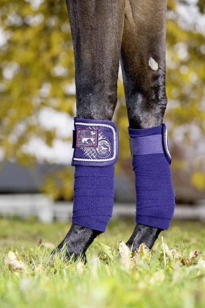 HKM Pro Team Performance Polar Fleece Bandages Deep Blue On Horse 8758/6900