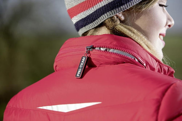 HKM Pro Team Performance Quilted Jacket Red Close Up 8744/3000