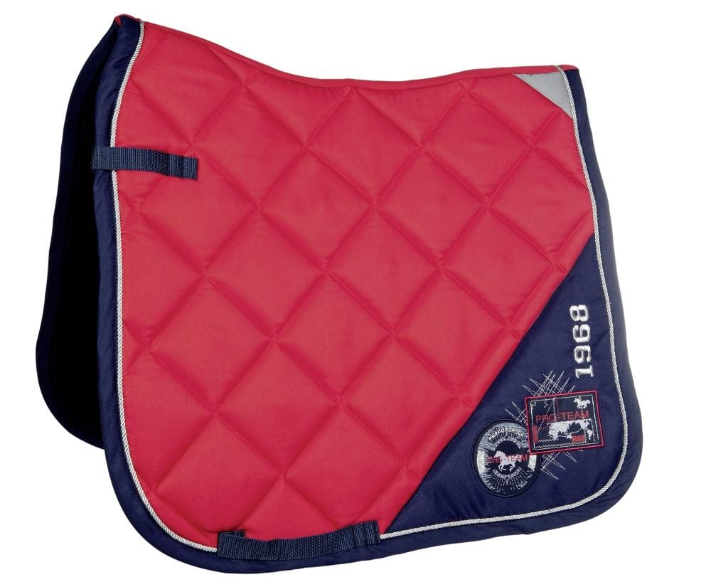HKM Pro Team Performance Saddle Cloth Red and Dark Blue 8756/3069