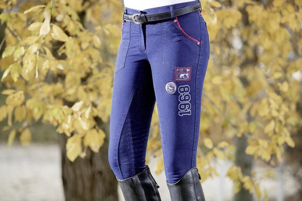 HKM Pro Team Performance Jeggings Full Seat Breeches Lifestyle Close Up 8752/6100