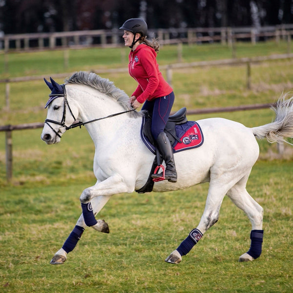 HKM Pro Team Performance Ladies Hooded Riding Top Lifestyle On Horse 8747/3000