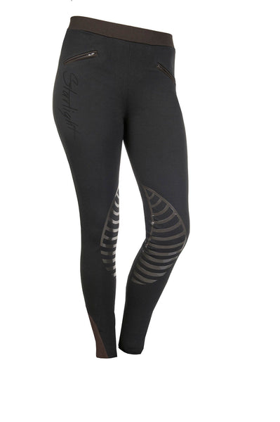 HKM Starlight Silicone Knee Patch Riding Tights - 24 (UK6) / Black and Brown | EQUUS