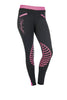 HKM Starlight Silicone Knee Patch Riding Tights - 24 (UK6) / Black and Pink | EQUUS
