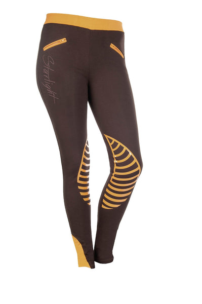 HKM Starlight Silicone Knee Patch Riding Tights - 24 (UK6) / Brown and Orange | EQUUS