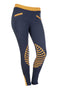 HKM Starlight Silicone Knee Patch Riding Tights - 24 (UK6) / Navy and Orange | EQUUS