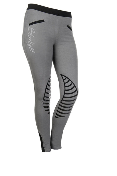HKM Starlight Silicone Knee Patch Riding Tights - 24 (UK6) / Light Grey and Black | EQUUS