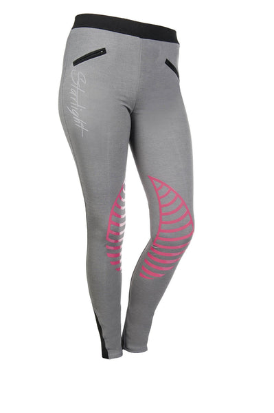 HKM Starlight Silicone Knee Patch Riding Tights - 24 (UK6) / Light Grey and Pink | EQUUS