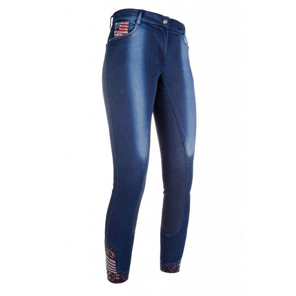 HKM USA Denim Silicone Full Seat Breeches Front 8572
