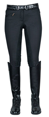 HKM Winner Winter Softshell Breeches in Black Front View