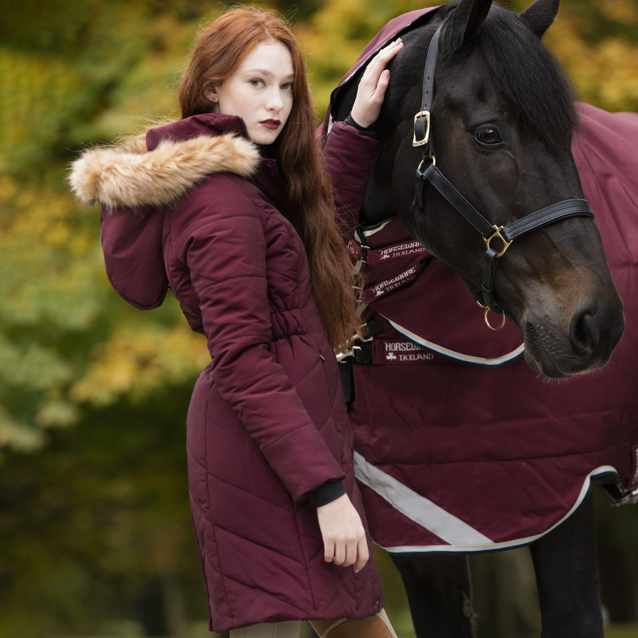 Horseware Fifi Hooded Coat Port With Horse Side View CBNCLF.