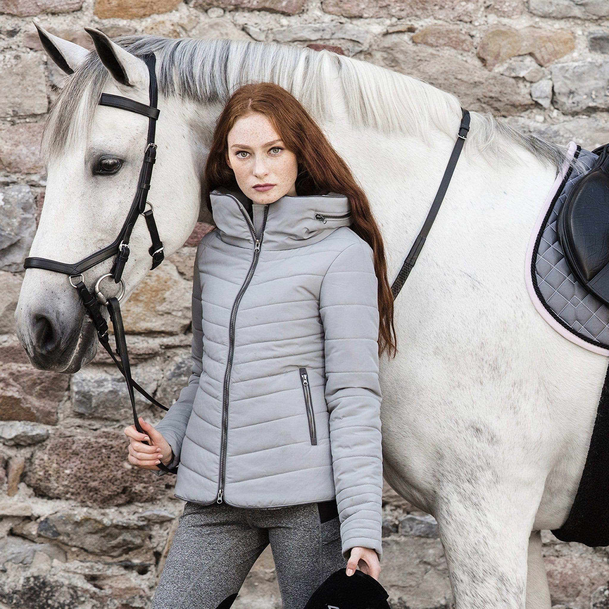Horseware Maya Jacket Grey On Model With Horse CENEHH