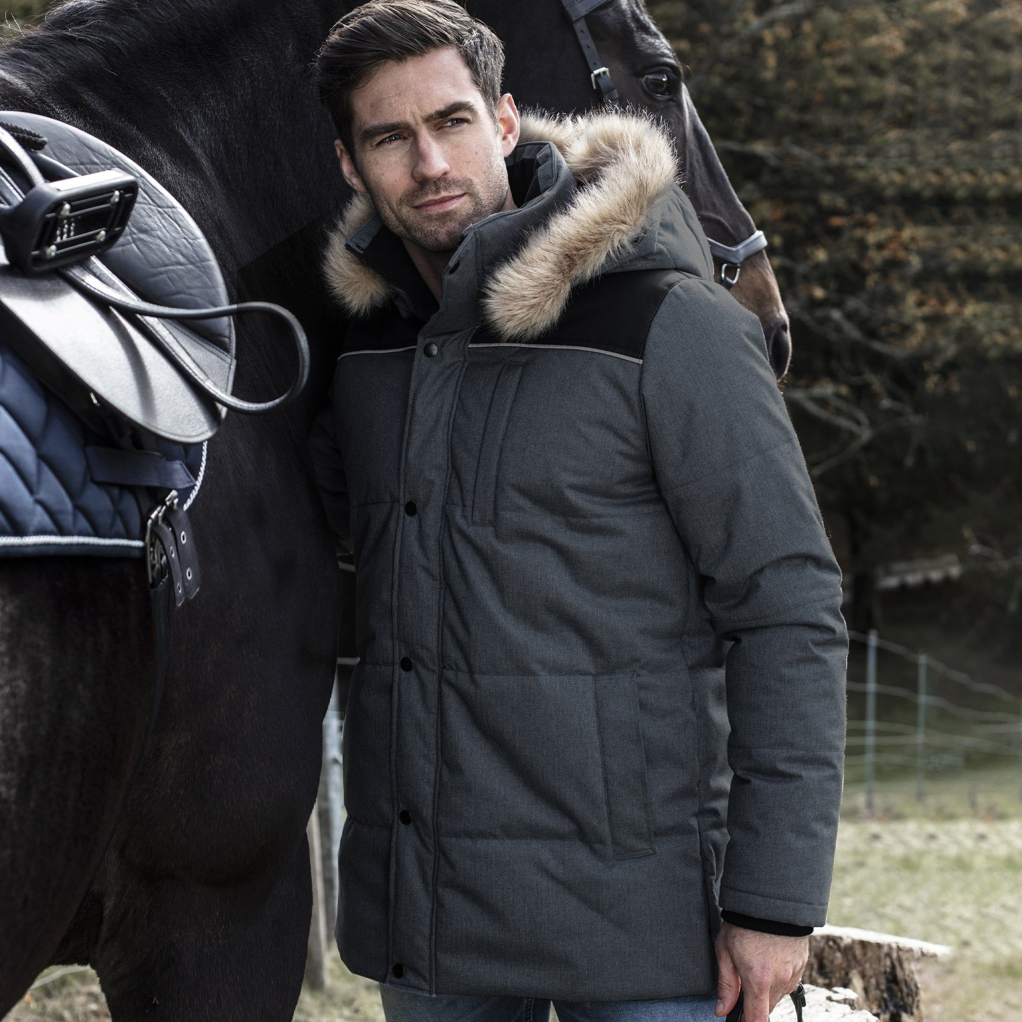Horseware Padded Parka With Removable Hood On Model With Horse CAHCTF.