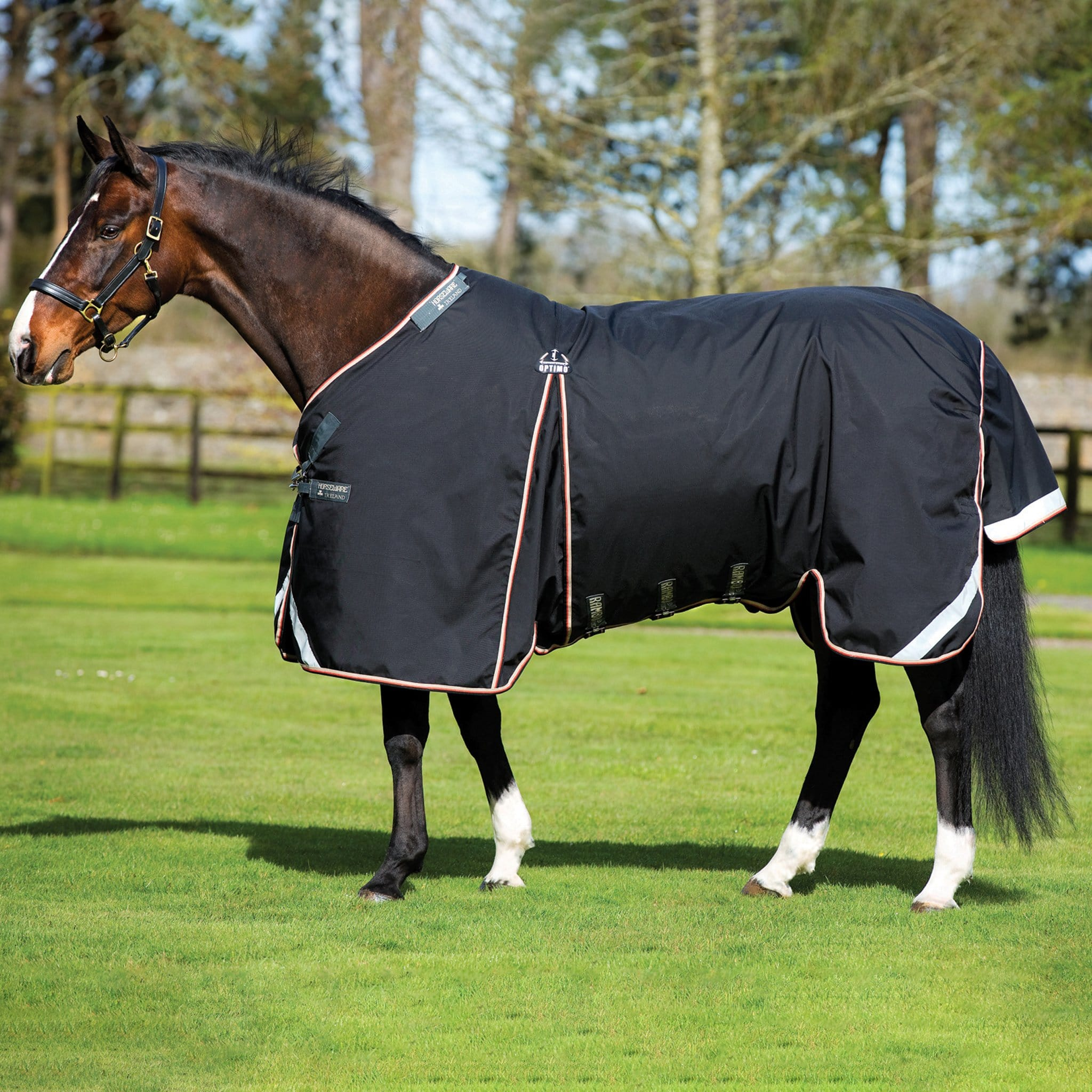 Rambo Optimo Lite 0g Turnout Rug Black With Orange Trim AAAF20.