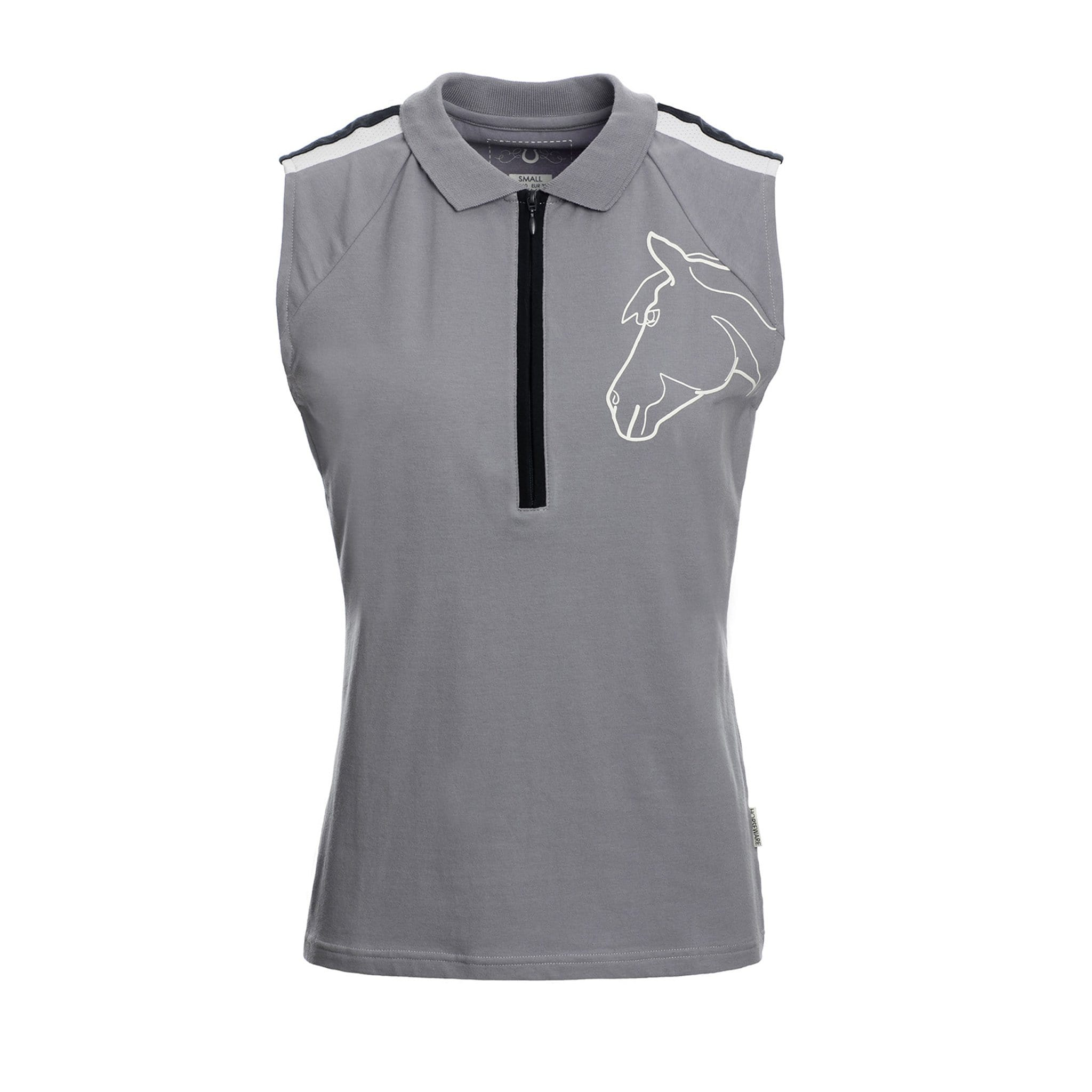 Horseware Flamboro Sport Sleeveless Polo Top Front Light Grey CJHJGO