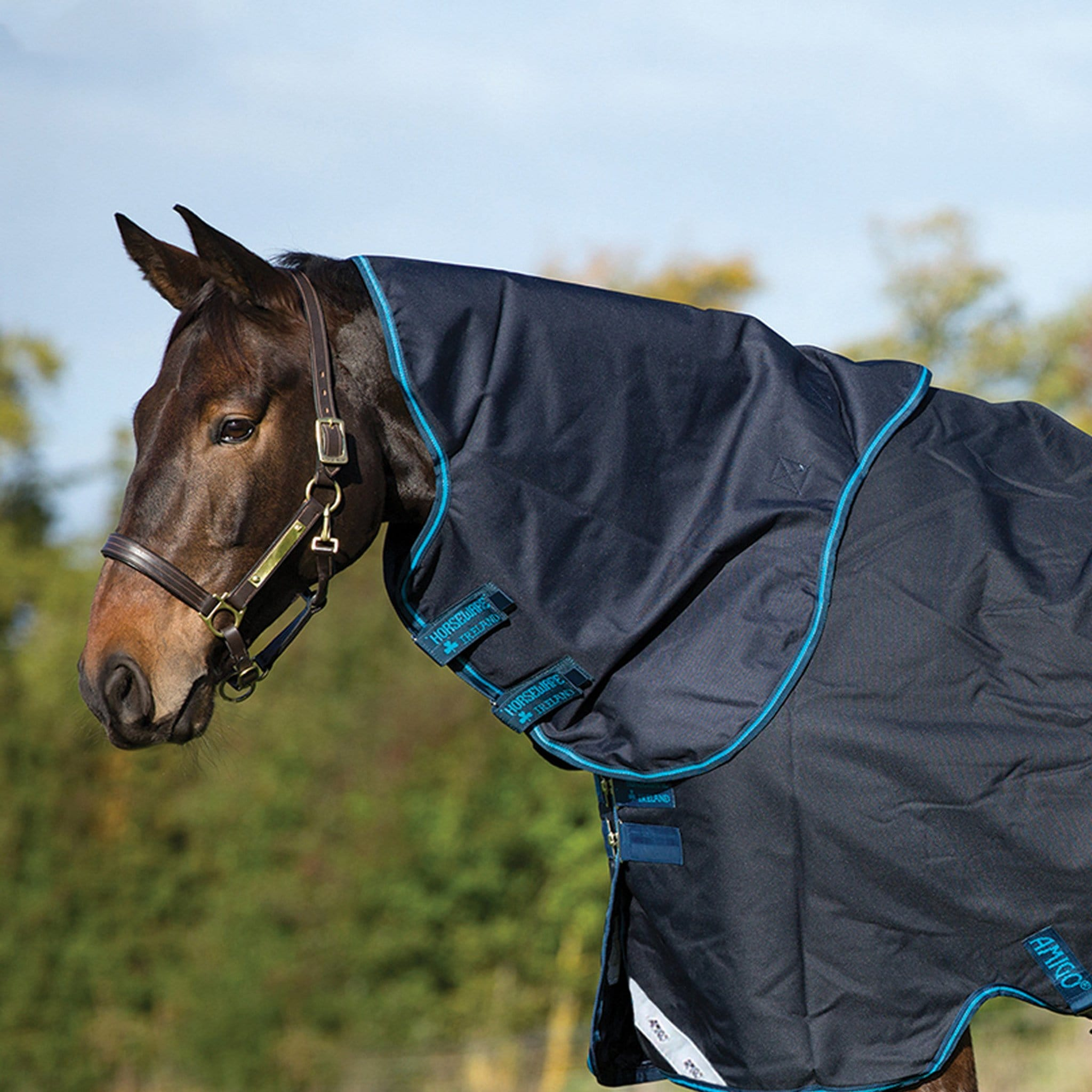 Horseware Amigo Bravo 12 Original 0g Hood Navy and Electric Blue AARN41