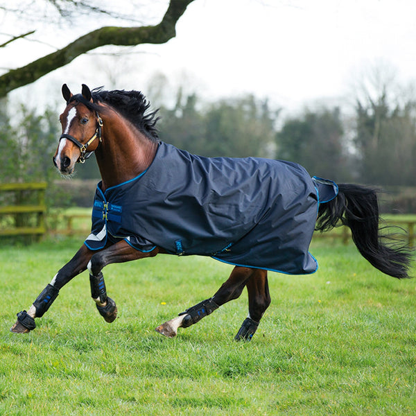 Horseware Amigo Bravo 12 Original Lite 100g Turnout Rug Navy Side View Galloping Horse AARA16