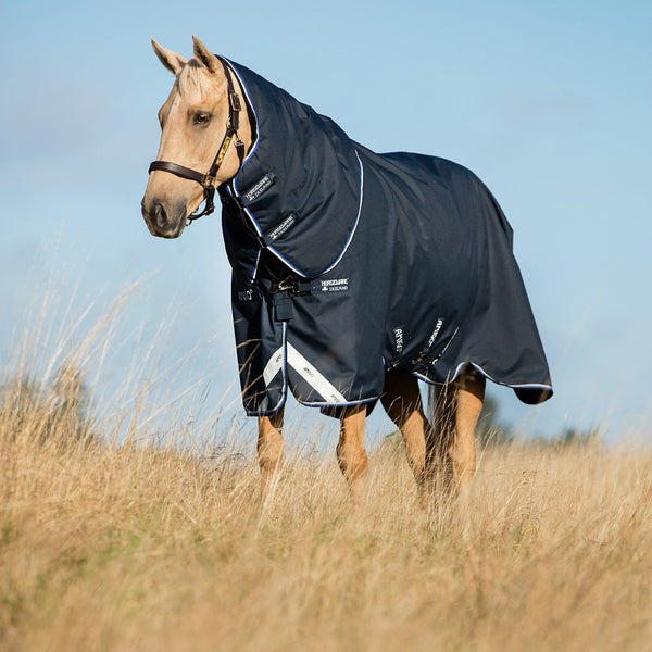 Horseware Amigo Bravo 12 Plus Heavy 400g Turnout Rug Navy AARP74