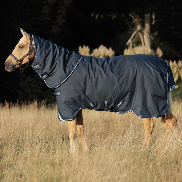 Horseware Amigo Bravo 12 Plus Heavy 400g Turnout Rug Navy Side View AARP74