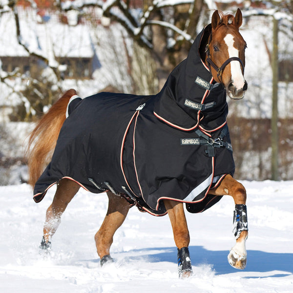 Horseware Rambo Optimo Heavy 400g Turnout Rug Galloping Horse in the Snow RHS AAAF11