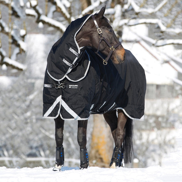 Horseware Rambo Supreme 250g Turnout Rug with Vari-Layer Front View in the Snow AAAX32