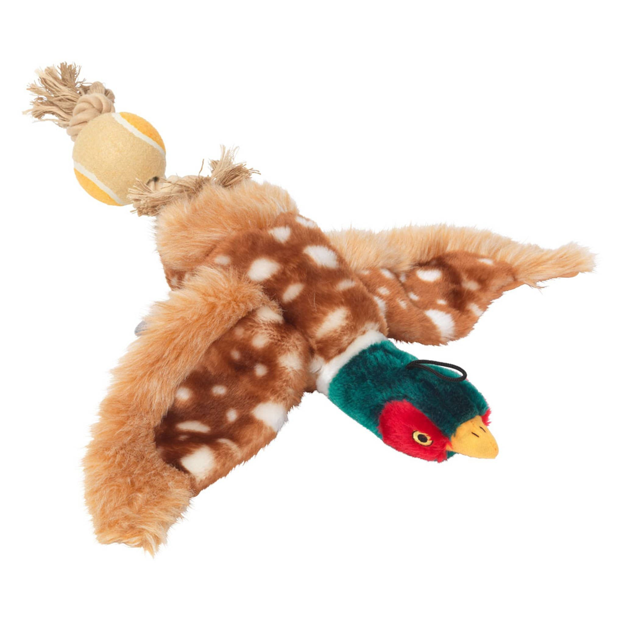 House Of Paws Dog Toy With Tennis Ball Tail 27595 Pheasant