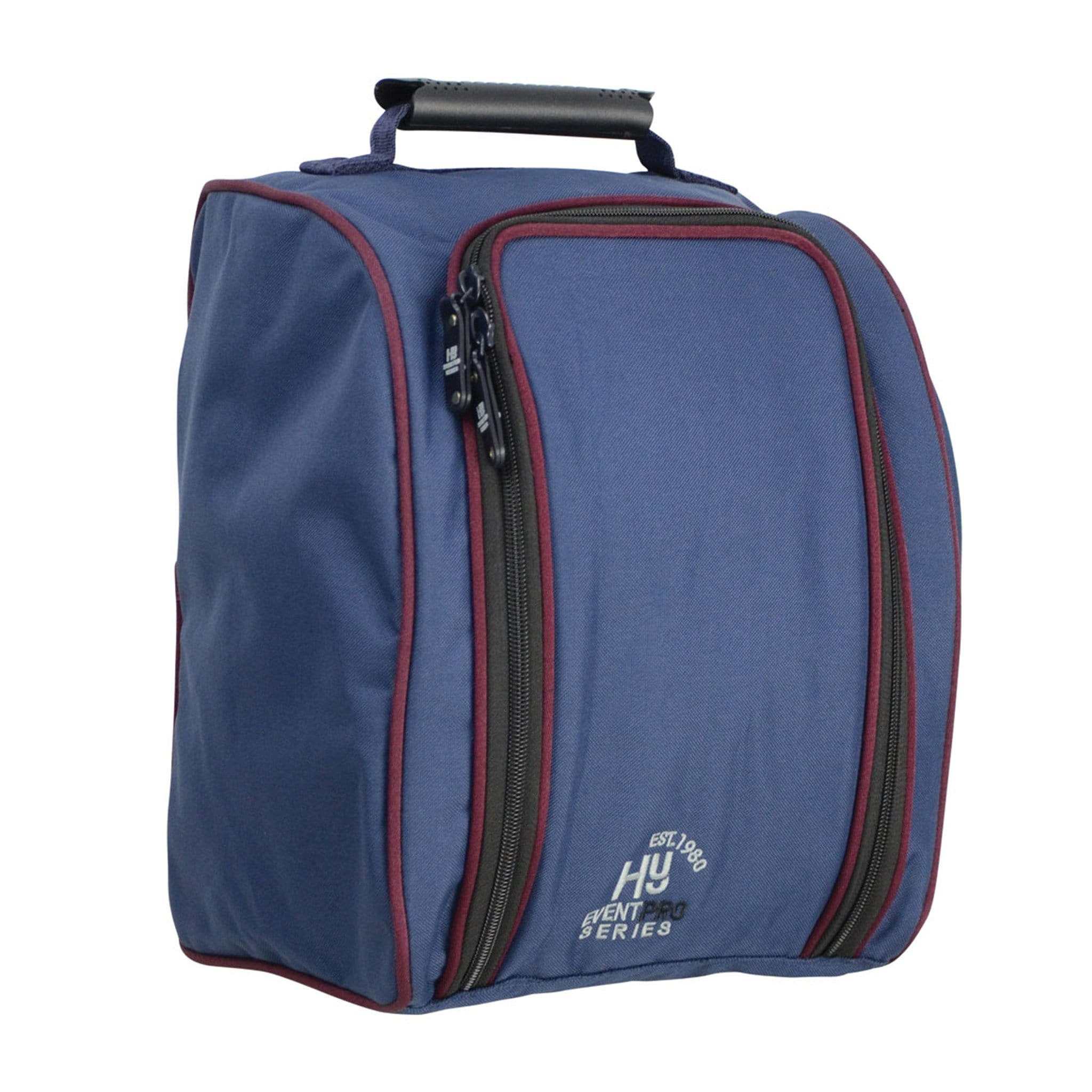 Hy Event Pro Series Helmet Bag 16867 Navy and Burgundy Front and Side