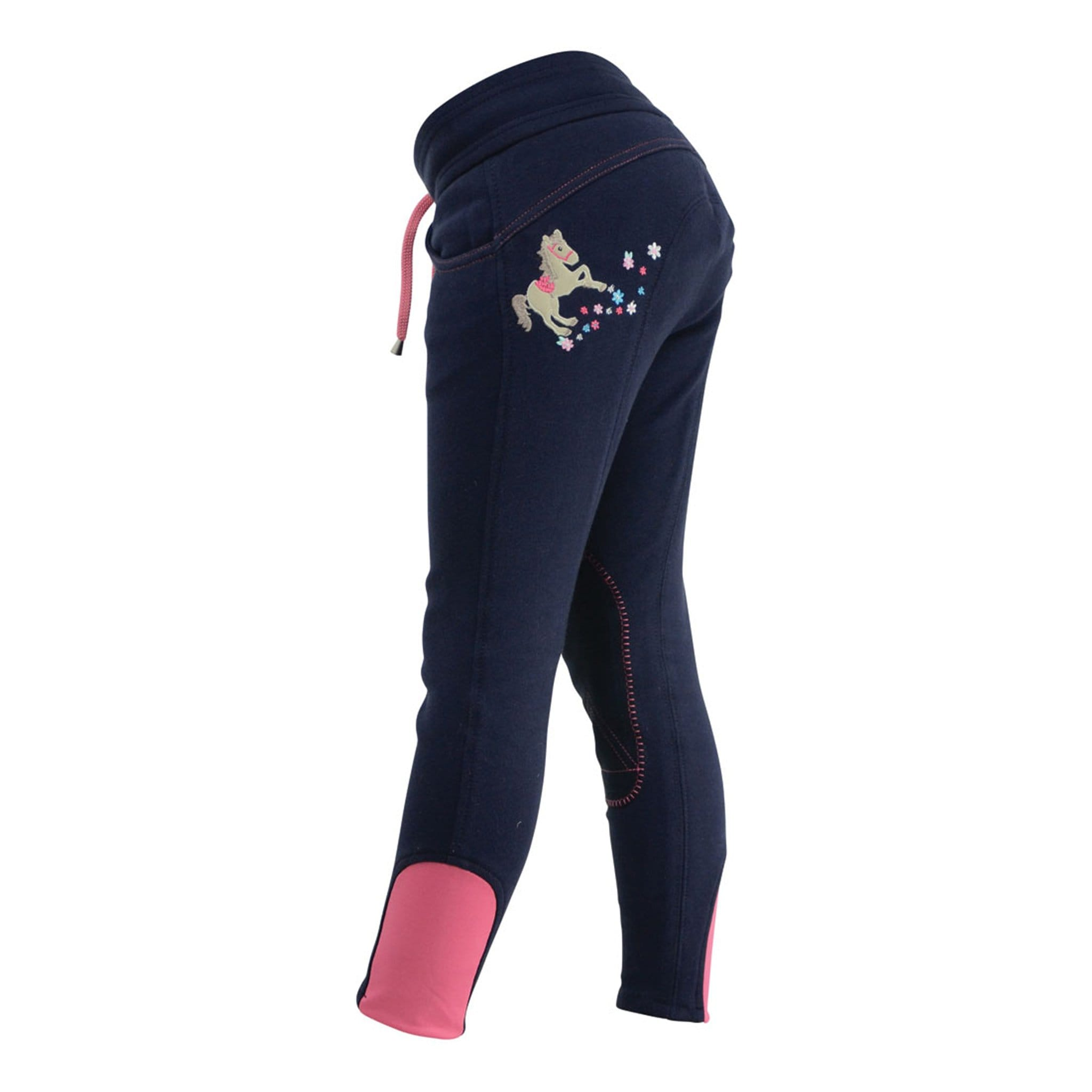 Hy Children's Little Rider Felicity Flower Pull On Self Knee Patch Jodhpurs Side View 17408.