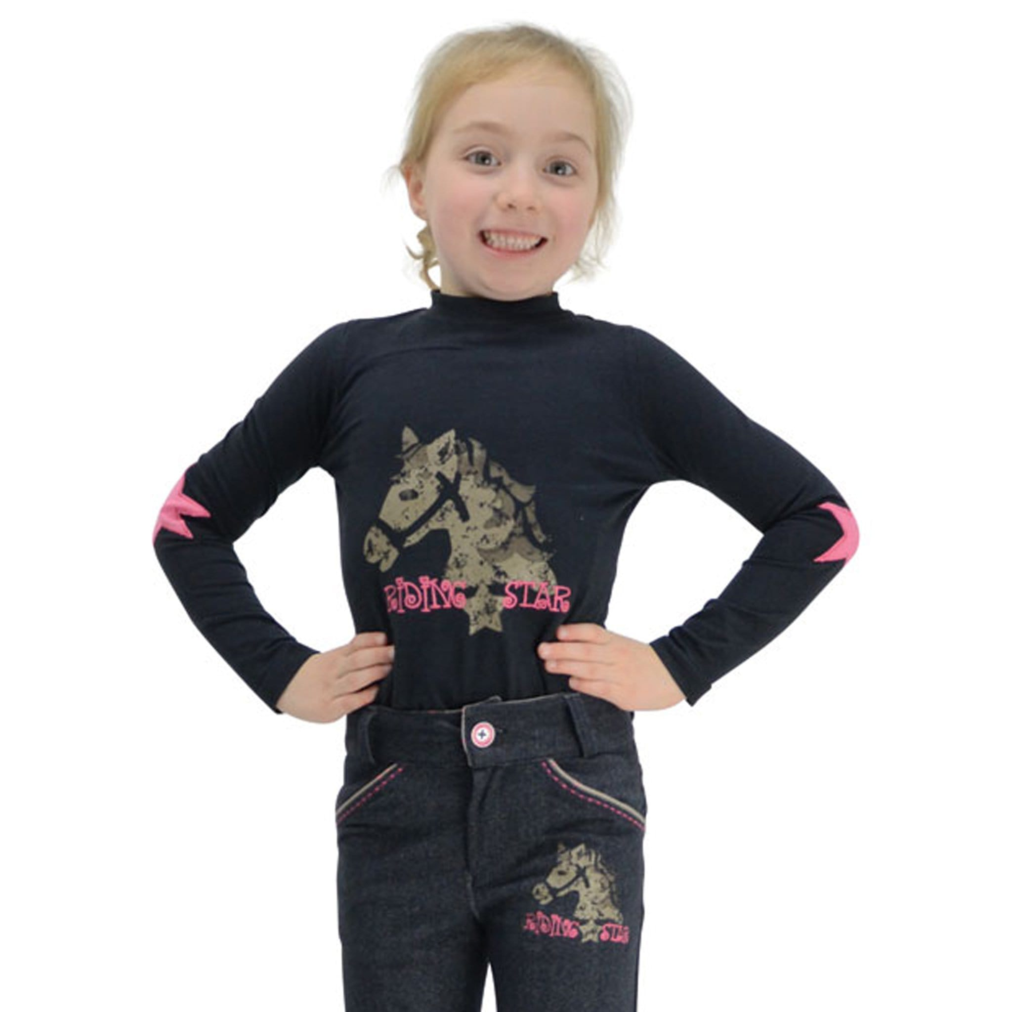 Hy Little Rider Riding Star Long Sleeved Top Front View 14165.