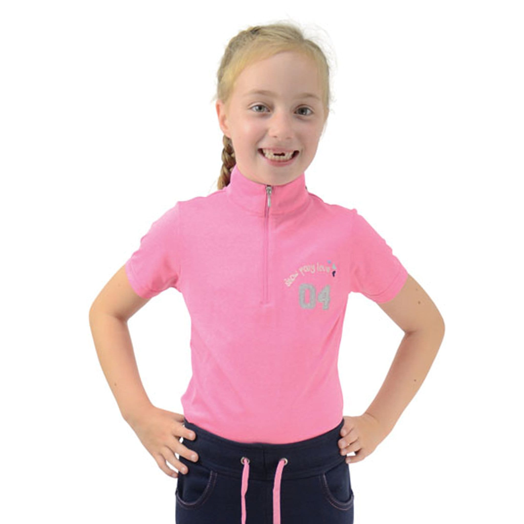 Hy Children's Little Rider Show Pony Love Short Sleeve Show Shirt 20860 Pink On Child Front