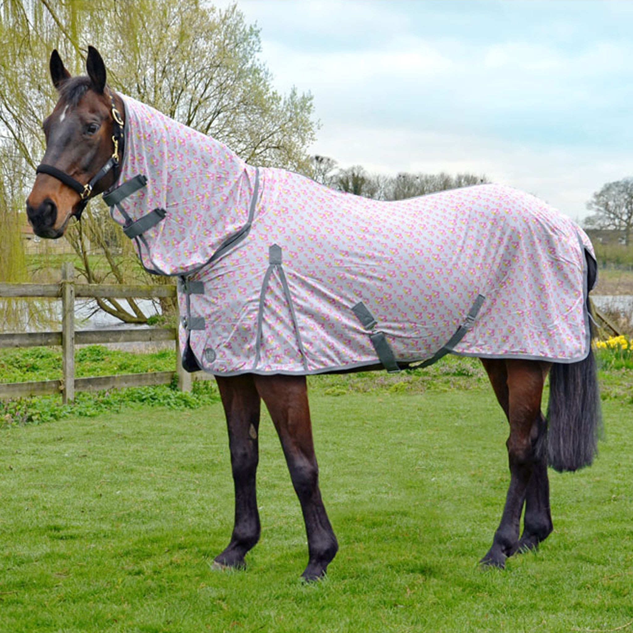 Hy Mesh Butterfly Print Combo Fly Rug 22414 Grey, Pink and Yellow