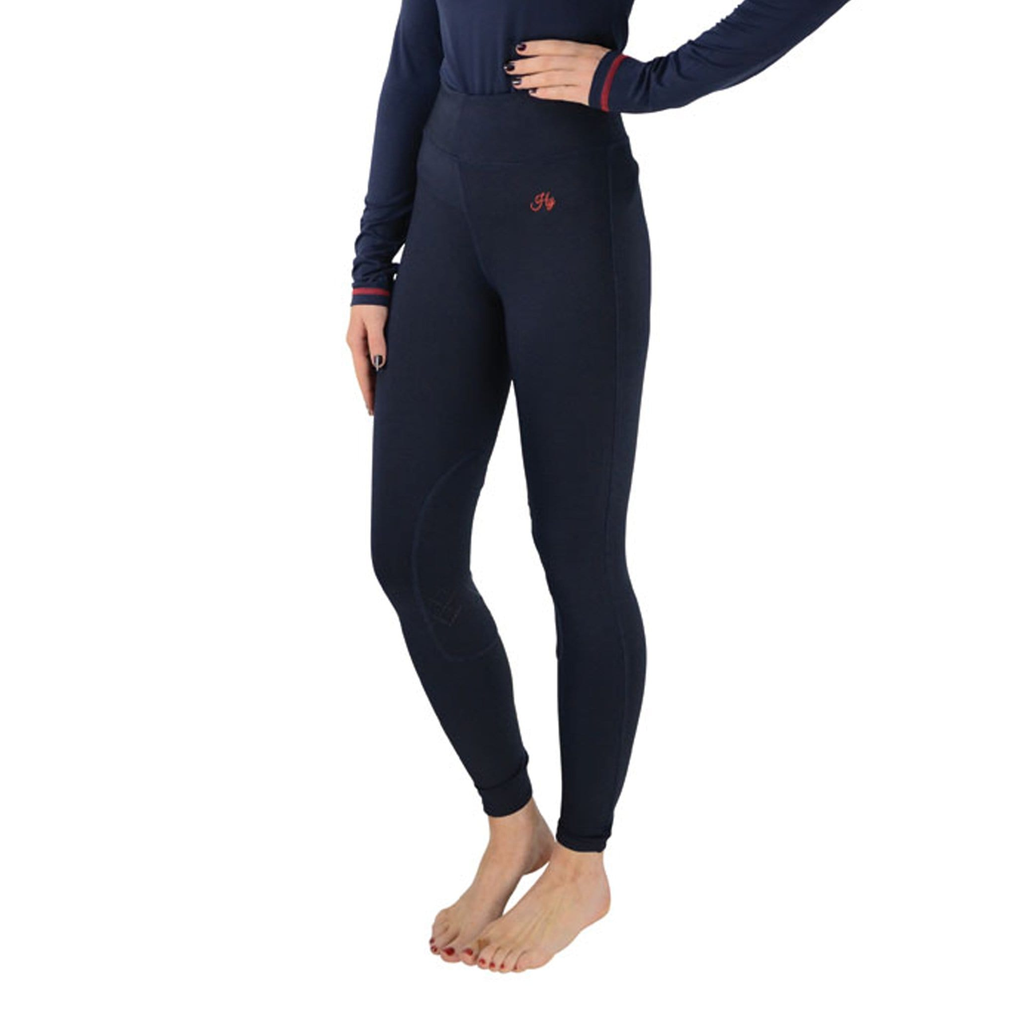 Hy Signature Silicone Knee Patch Riding Tights 22110 Navy and Red Front