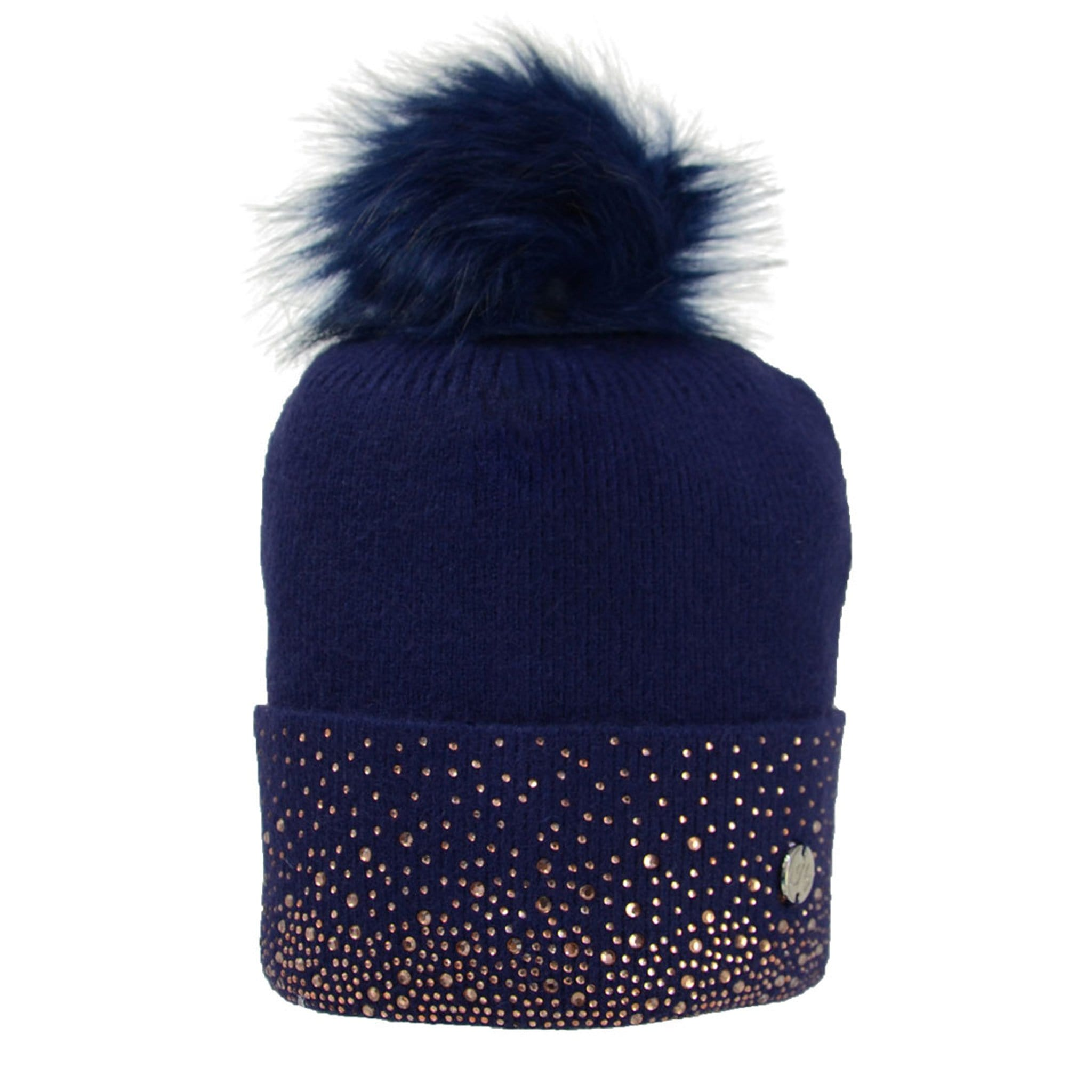 HyFASHION Two Toned Alaska Bobble Hat Navy 24322.