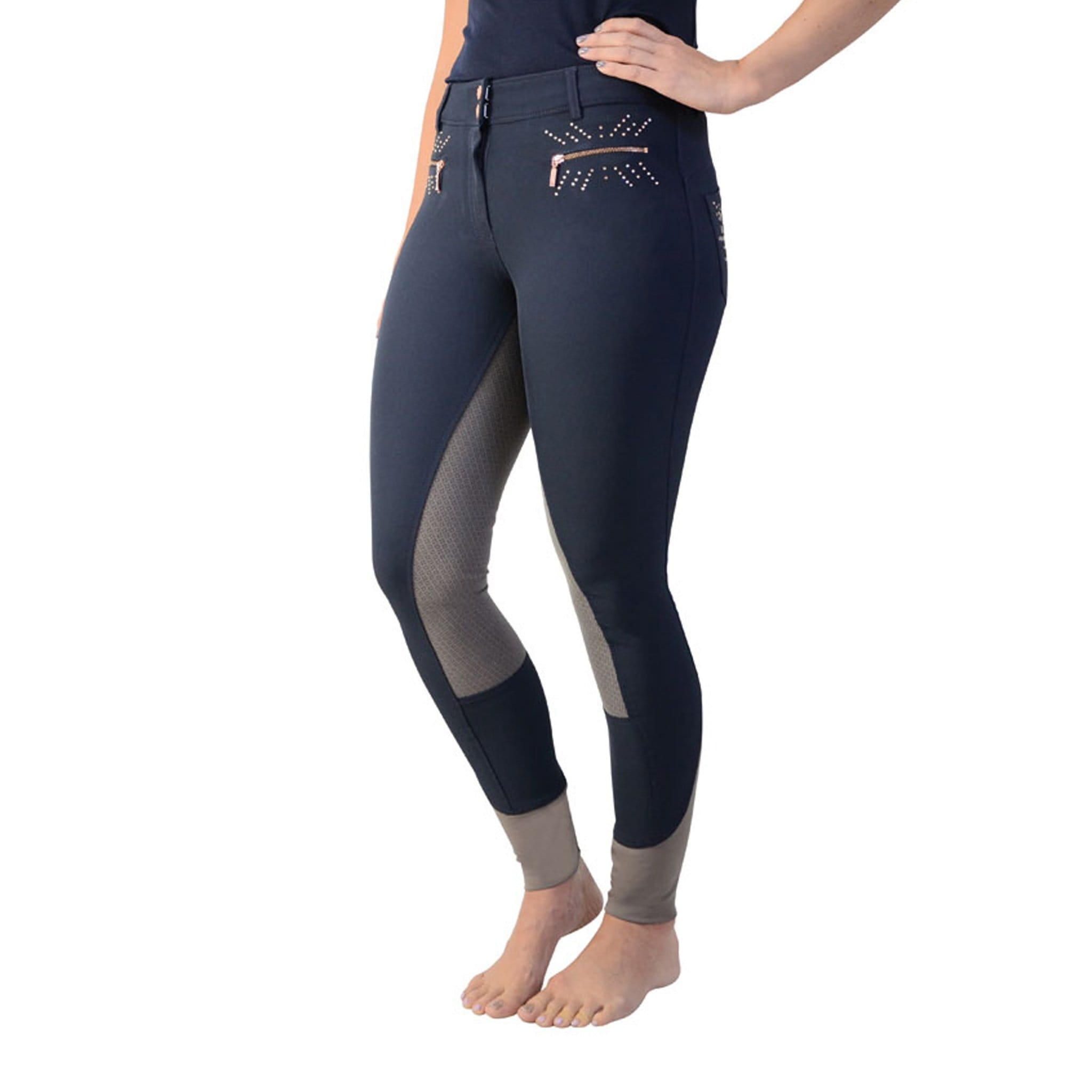 HyFASHION Kensington Silicone Full Seat Breeches Navy Front 20829