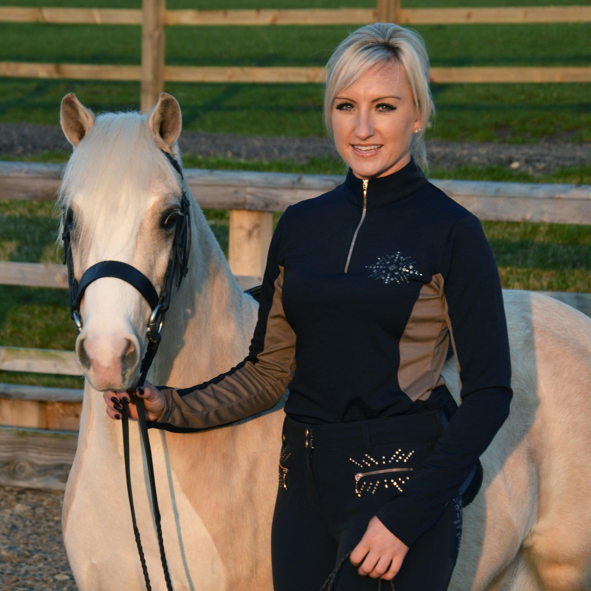 HyFASHION Kensington Long Sleeve Sports Top 20840 Navy On Model With Pony Front View