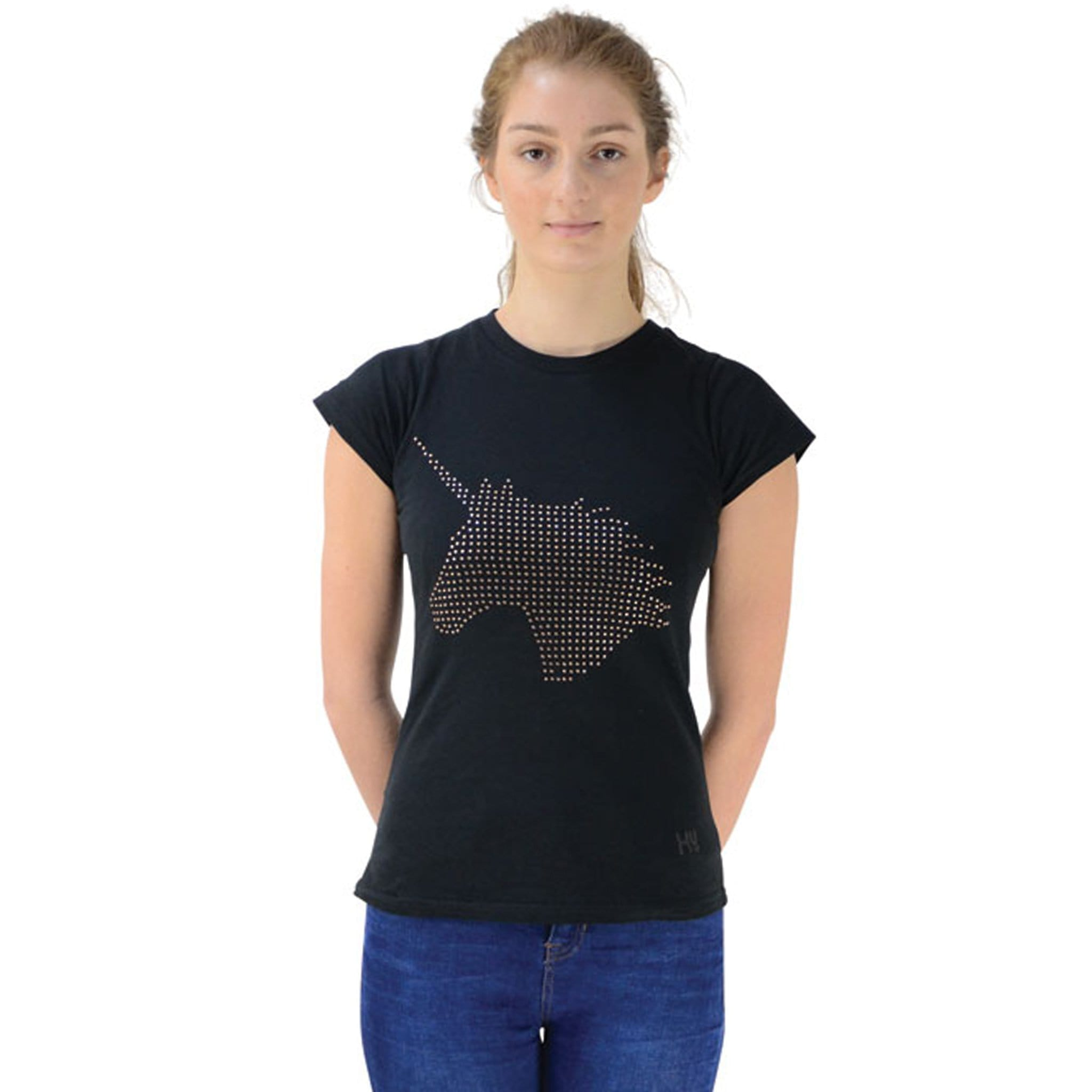 HyFASHION Unicorn Dreamer T-Shirt Black And Rose Gold Front 22173.