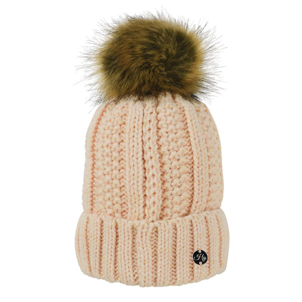 HyFASHION Aspen Metallic Bobble Hat in Cream 20290