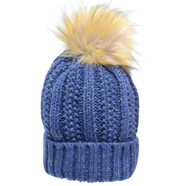 HyFASHION Aspen Metallic Bobble Hat in Navy 20288