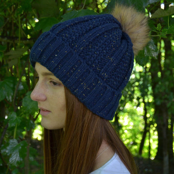 HyFASHION Aspen Metallic Bobble Hat in Navy Lifestyle 20288