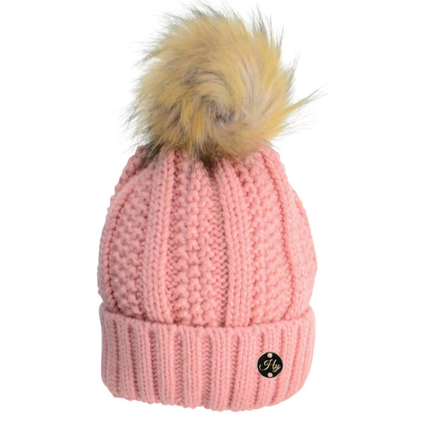 HyFASHION Aspen Metallic Bobble Hat in Peach 20289