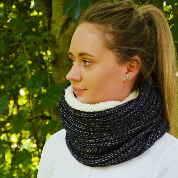 HyFASHION Avoriaz Metallic Snood in Navy Lifestyle Side View 20335