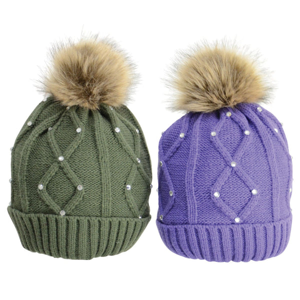 HyFASHION Dakota Diamante Bobble Hat Both 20529