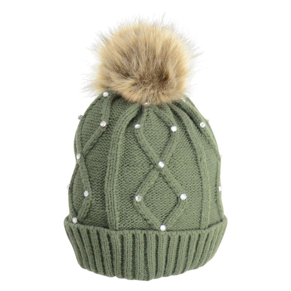 HyFASHION Dakota Diamante Bobble Hat in Forest Green 20529