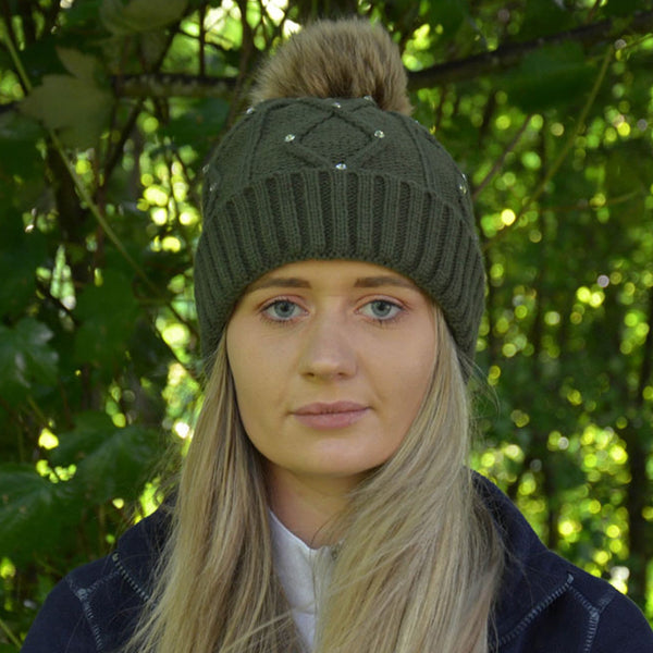 HyFASHION Dakota Diamante Bobble Hat in Forest Green Lifestyle 20529