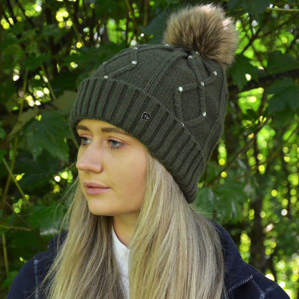 HyFASHION Dakota Diamante Bobble Hat in Forest Green Lifestyle Side View 20529