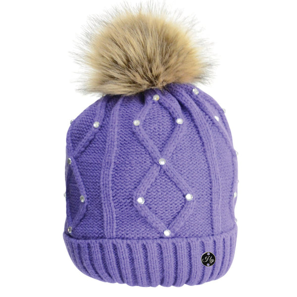 HyFASHION Dakota Diamante Bobble Hat in Violet 20529
